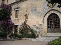 Puerta y flores Imagenes de archivo