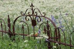 Puerta y flores imagen de archivo
