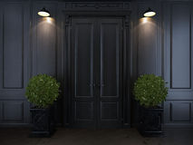 Puerta y plantas en floreros Foto de archivo libre de regalías