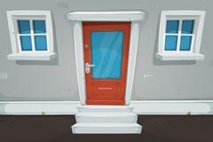 Puerta y Windows de la casa de la historieta en la calle stock de ilustración