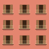 Puertas abiertas con estilo del vintage del balcón Fotografía de archivo libre de regalías