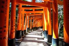 Puertas carmesís del torii sobre una trayectoria en Fushimi Inari-taisha en Kyoto, Japón Foto de archivo libre de regalías