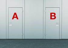Puertas cerradas con las marcas de A y de B Imagenes de archivo
