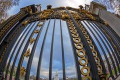 Puertas con los detalles de oro Entrada del parque verde al lado de Buckin Fotos de archivo