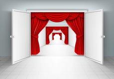 Puertas de entrada con las cortinas rojas Imagen de archivo libre de regalías