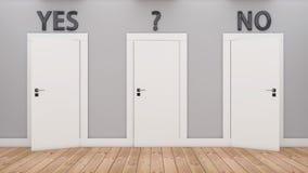 Puertas de la decisión sí y del no Imágenes de archivo libres de regalías