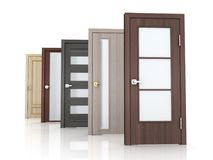 Puertas de la fila cinco en el fondo blanco Fotografía de archivo