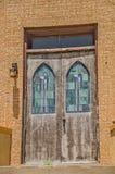 Puertas de la iglesia del vitral Foto de archivo libre de regalías