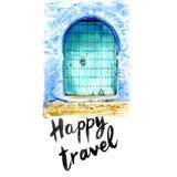 Puertas de la turquesa en Marruecos con la acuarela deletreado stock de ilustración