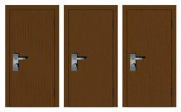 Puertas de madera en un fondo blanco Fotos de archivo libres de regalías