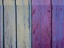 Puertas de madera viejas pintadas en la decoración del aceite foto de archivo libre de regalías