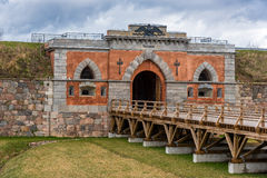 Puertas del emperador y puente de madera en fotress Foto de archivo libre de regalías