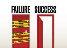 Puertas del fracaso y del éxito. diseño del ejemplo Fotos de archivo libres de regalías