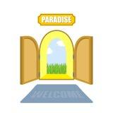 Puertas del paraíso en un fondo blanco Entrada al paraíso A Fotos de archivo libres de regalías