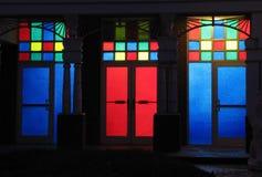 Puertas del vidrio manchado Foto de archivo libre de regalías