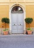 Puertas dobles de madera con las macetas Foto de archivo libre de regalías