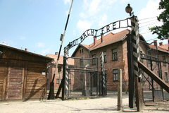Puertas en Auschwitz Fotografía de archivo libre de regalías