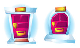 Puertas exteriores del ejemplo del vector de la historieta Imagenes de archivo