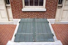 Puertas exteriores verdes del sótano de tormenta Imagen de archivo libre de regalías