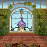 Puertas fabulosas del mosaico en la tierra mágica stock de ilustración