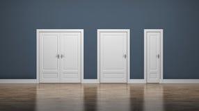Puertas gruesas y finas Entre y salga Concepto del asunto Foto de archivo libre de regalías
