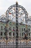 Puertas hermosas adornadas por el ornamento floral Foto de archivo libre de regalías