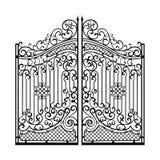 Puertas hermosas del ornamento del hierro Negro en blanco Fotos de archivo libres de regalías