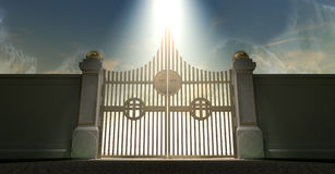Puertas nacaradas de oro de los cielos ilustración del vector