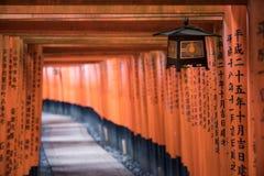 Puertas rojas del torii de la trayectoria que camina Imagen de archivo