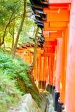 Puertas rojas del torii en Fushimi Inari Taisha Deseos escritos en japonés en los posts Imagen de archivo