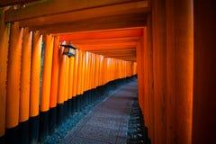 Puertas rojas del torii en la capilla de Fushimi Inari en Kyoto, Japón Imagen de archivo libre de regalías