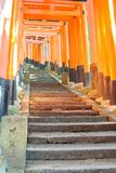 Puertas rojas del torii y pasos de piedra en la capilla de Fushimi Inari, Kyoto imagen de archivo