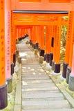 Puertas rojas del torii y pasos de piedra en la capilla de Fushimi Inari, Kyoto Deseos escritos en japonés en los posts Fotografía de archivo