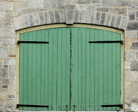 Puertas verdes dobles Fotografía de archivo libre de regalías