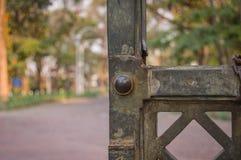 Puertas verdes oxidadas del hierro en el parque Fotos de archivo