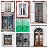 Puertas y ventanas de madera viejas Imagen de archivo libre de regalías