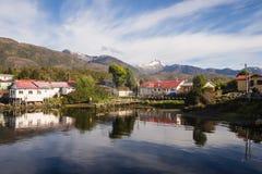 Puerto伊甸园在智利峡湾,巴塔哥尼亚 免版税图库摄影