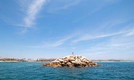 Puerto圣何塞台尔Cabo港口/小游艇船坞的防堤在巴哈墨西哥 免版税图库摄影