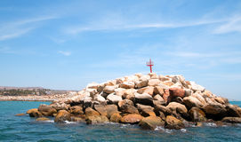 Puerto圣何塞台尔Cabo港口/小游艇船坞的防堤在巴哈墨西哥 库存图片