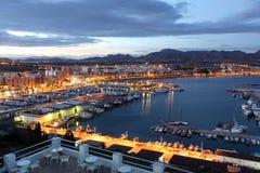 puerto在黄昏的de Mazarron,西班牙 库存照片