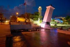 Puerto莫雷洛斯州海滩日落里维埃拉玛雅人 库存照片