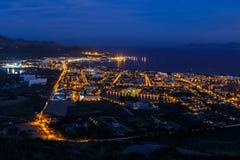 Puerto Alcudia på natten Fotografering för Bildbyråer