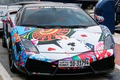 PUERTO BANUS, ANDALUCIA/SPAIN - 7月6日:Lamborghini在P停放了 免版税库存照片