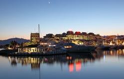 Puerto Banus на сумраке, Испании Стоковое Изображение
