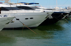 Puerto Banus and big yachts Royalty Free Stock Images