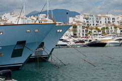 Puerto Banus and big yachts Stock Photography