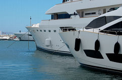 Puerto Banus and big yachts Stock Images