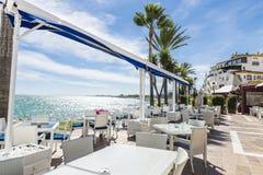 Puerto Banus, Marbella, Spain. Bar where you can drink watching the sea in Puerto Banus, Marbella, Spain royalty free stock photos