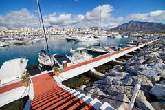 Puerto Banus Marina on Costa del Sol in Spain. Near Marbella, Andalusia region stock photography