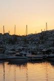 Puerto Banus marina at dusk. Stock Photo